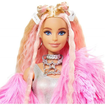 Picture of Mattel Barbie Extra Doll In Pink Fluffy Coat With Unicorn Pig Toy GRN28