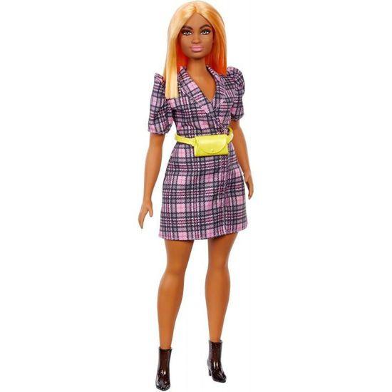 Picture of Mattel Barbie Doll Fashionistas Puff Sleeve Plaid Blazer Dress Curvy Doll GRB53