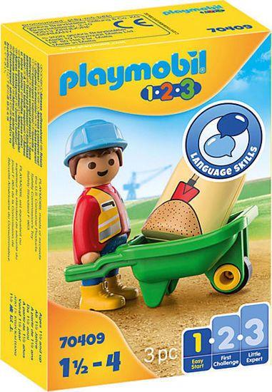 Picture of Playmobil 1.2.3 Εργάτης Με Καροτσάκι 70409