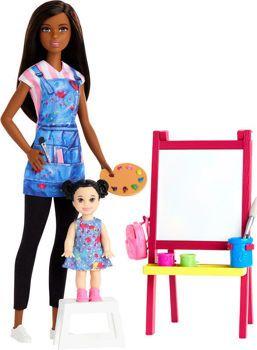Picture of Mattel Barbie Σετ Επαγγέλματα Με Παιδάκια Δασκάλα Ζωγραφικής Μελαχρινή (DHB63/GJM30)
